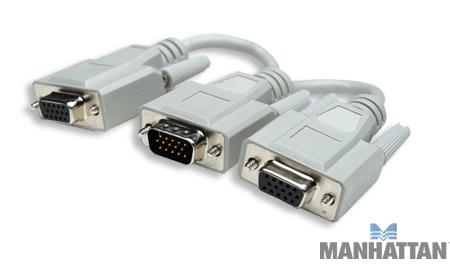 Manhattan HD15 Male to 2 x HD15 Female Y-Split-Video Cable 6""