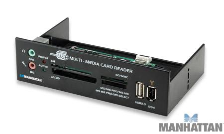 Manhattan Multi-Card Reader with Built-In Multi-Media Panel