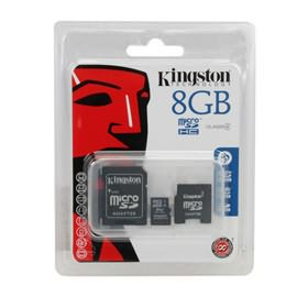Kingston Micro SDHC 8GB Flash Card with 2 adapters SDC4/8GB-2ADP